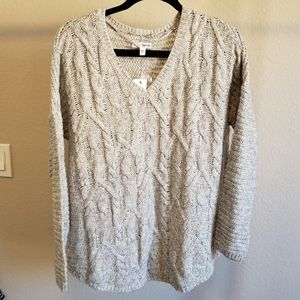 Sonoma Cable Knit V Neck Sweater